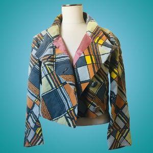 Vintage 1960s Mod Cropped Plaid Jacket